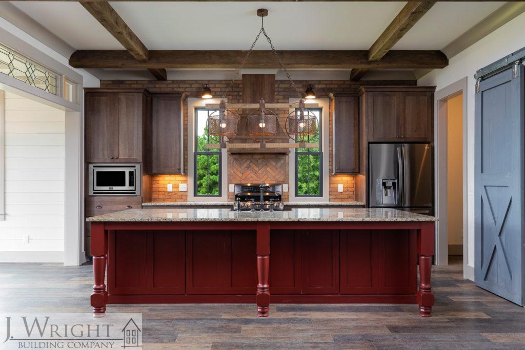dark wood kitchen and island in Birmingham