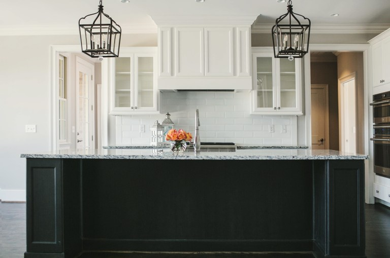 J Wright Kitchen with black painted island
