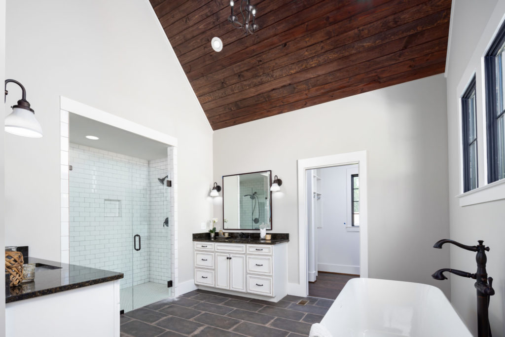 modern farmhouse style bathroom in Hoover custom home