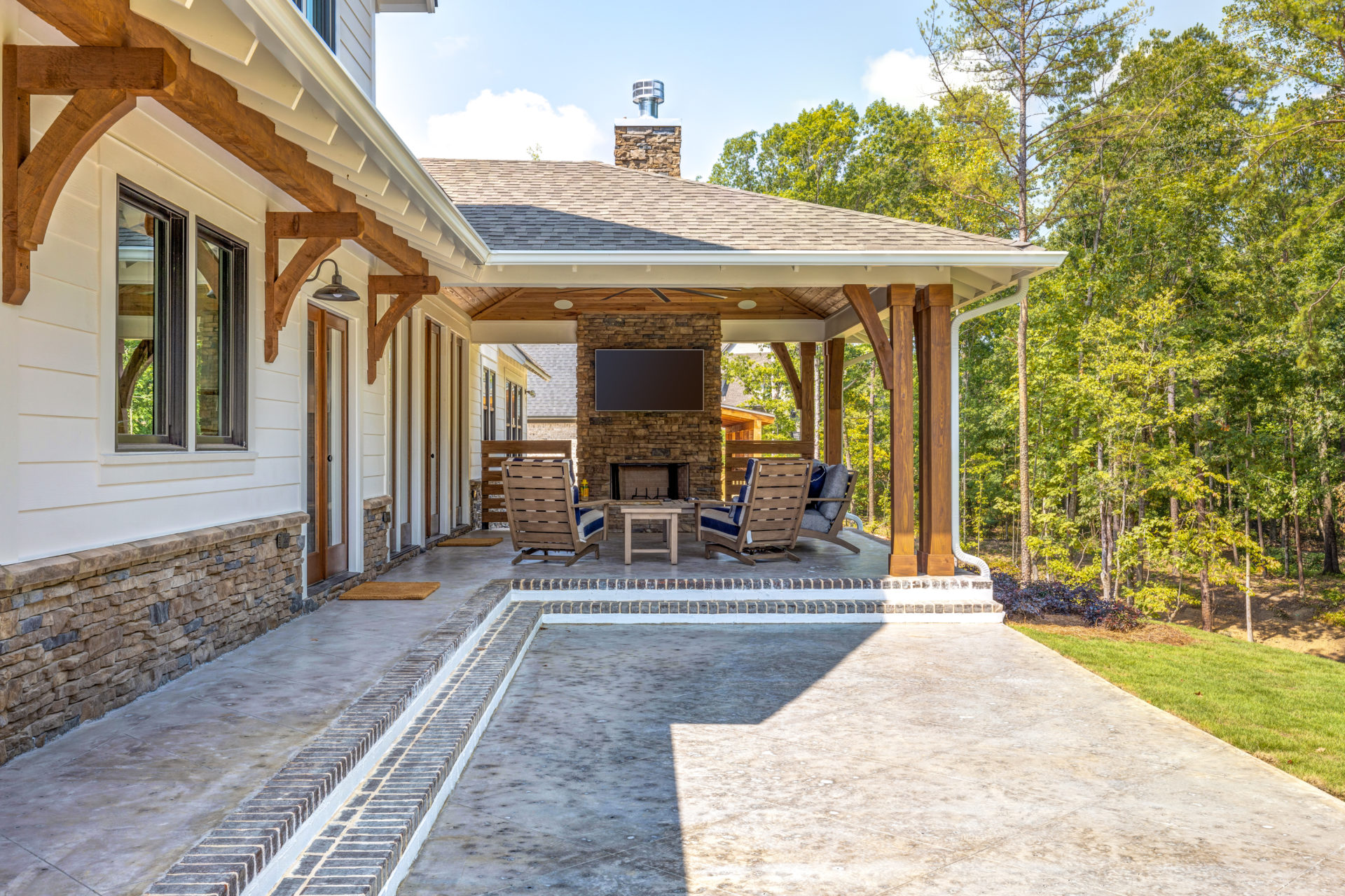 outdoor living space at hoover custom home