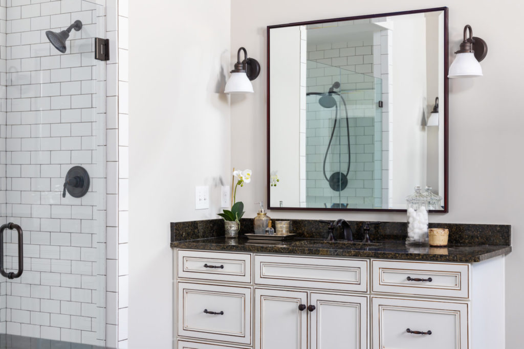 bathroom counters in a custom home