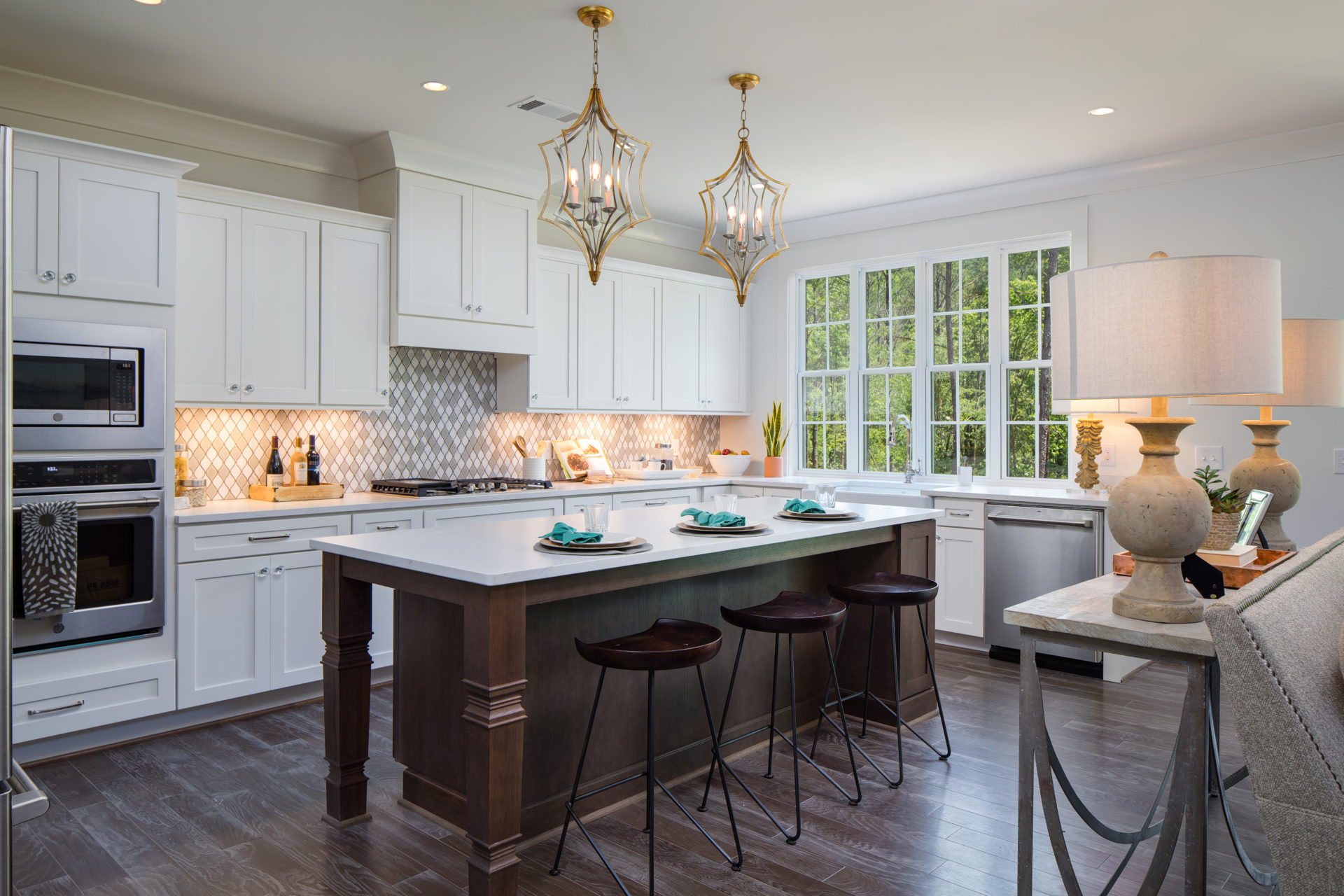 Custom Home in Helena gourmet island farmhouse kitchen